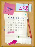 ημερολόγιο του 2018 - μήνας Μάιος - πίνακας φελλού με τις σημειώσεις διανυσματική απεικόνιση