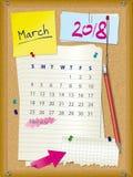 ημερολόγιο του 2018 - μήνας Μάρτιος - πίνακας φελλού με τις σημειώσεις απεικόνιση αποθεμάτων