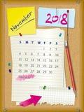 ημερολόγιο του 2018 - μήνας Νοέμβριος - πίνακας φελλού με τις σημειώσεις ελεύθερη απεικόνιση δικαιώματος