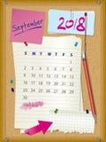 ημερολόγιο του 2018 - μήνας Σεπτέμβριος - πίνακας φελλού με τις σημειώσεις διανυσματική απεικόνιση