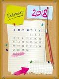 ημερολόγιο του 2018 - μήνας Φεβρουάριος - πίνακας φελλού με τις σημειώσεις απεικόνιση αποθεμάτων