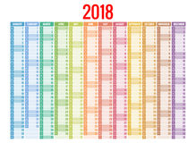 ημερολόγιο του 2018 Πρότυπο τυπωμένων υλών Η εβδομάδα αρχίζει την Κυριακή Προσανατολισμός πορτρέτου Σύνολο 12 μηνών Αρμόδιος για  Στοκ Εικόνα