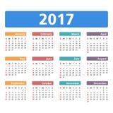 ημερολόγιο του 2017 Στοκ Φωτογραφίες