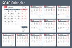 ημερολόγιο του 2018 απεικόνιση αποθεμάτων