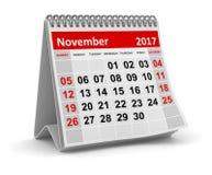 Ημερολόγιο - το Νοέμβριο του 2017 Στοκ Εικόνες
