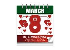 Ημερολόγιο υπολογιστών γραφείου με την ημερομηνία της 8ης Μαρτίου Ημέρα των διεθνών γυναικών Στοκ Φωτογραφίες