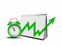 Ημερολόγιο υπολογιστών γραφείου με το διάγραμμα και το ξυπνητήρι βελών Στοκ φωτογραφία με δικαίωμα ελεύθερης χρήσης