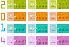 2014 ημερολόγιο Στοκ εικόνες με δικαίωμα ελεύθερης χρήσης