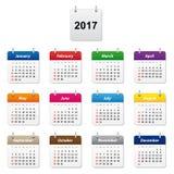 Ημερολόγιο 2017 διανυσματική απεικόνιση