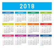Ημερολόγιο 2018 διανυσματική απεικόνιση