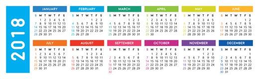 Ημερολόγιο 2018 απεικόνιση αποθεμάτων