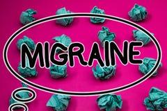 Ημικρανία κειμένων γραψίματος λέξης Η επιχειρησιακή έννοια για τον επαναλαμβανόμενο πονοκέφαλο σε μια πλευρά της επικεφαλής ναυτί Στοκ Φωτογραφίες