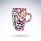 Δημιουργική κούπα μπύρας που διακοσμείται με το floral σχέδιο Θέμα οινοπνεύματος Στοκ Φωτογραφίες