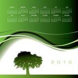 2016 δημιουργικό ημερολόγιο δέντρων Στοκ εικόνα με δικαίωμα ελεύθερης χρήσης