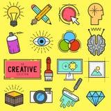 Δημιουργικό διανυσματικό σύνολο εικονιδίων Στοκ εικόνα με δικαίωμα ελεύθερης χρήσης