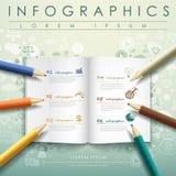 Δημιουργικό πρότυπο με το χρωματισμένα μολύβι και το βιβλίο Στοκ Εικόνα