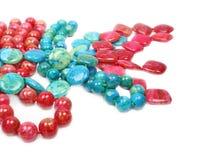 Ημιπολύτιμες πέτρες, κόκκινος, γαλαζοπράσινος αχάτης Στοκ Εικόνες