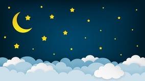 Ημισεληνοειδή φεγγάρι, αστέρια, και σύννεφα στο υπόβαθρο ουρανού μεσάνυχτων Υπόβαθρο τοπίου νυχτερινού ουρανού ύφος τέχνης εγγράφ απεικόνιση αποθεμάτων
