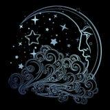 Ημισεληνοειδές φεγγάρι ύφους παραμυθιού με ένα ανθρώπινο πρόσωπο που στηρίζεται σε ένα σγουρό σύννεφο background night sky starry Στοκ εικόνα με δικαίωμα ελεύθερης χρήσης