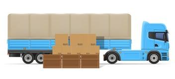 Ημι ρυμουλκό φορτηγών για τη μεταφορά της έννοιας διανυσματικό IL αγαθών Στοκ Εικόνες