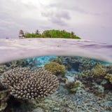 Ημι υποβρύχια σκηνή του νησιού και του σκοπέλου στοκ φωτογραφία με δικαίωμα ελεύθερης χρήσης