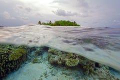 Ημι υποβρύχια σκηνή του νησιού και του σκοπέλου στοκ εικόνα
