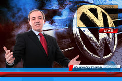 Δημοσιογράφος ειδήσεων TV στο σκάνδαλο απάτης του Volkswagen Στοκ Φωτογραφία