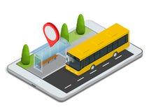 δημόσιες συγκοινωνίες Στάση λεωφορείου με το σε απευθείας σύνδεση σχέδιο App για την έννοια ταμπλετών Στοκ Εικόνες
