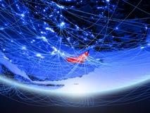 Ηνωμένα Αραβικά Εμιράτα από το διάστημα με το δίκτυο στοκ φωτογραφία με δικαίωμα ελεύθερης χρήσης