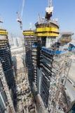 Ηνωμένα Αραβικά Εμιράτα, Ντουμπάι, 05/21/2015, πύργοι Ντουμπάι Damac με το Παραμάουντ, την κατασκευή και την οικοδόμηση Στοκ Φωτογραφία