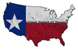 Ηνωμένες Πολιτείες σημαία του Τέξας στο χάρτη Grunged απεικόνιση αποθεμάτων