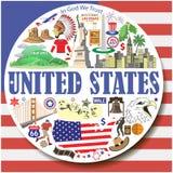Ηνωμένες Πολιτείες γύρω από το υπόβαθρο Το διάνυσμα χρωμάτισε τα επίπεδα εικονίδια και τα σύμβολα καθορισμένα Στοκ Φωτογραφίες