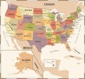 Ηνωμένος χάρτης - εκλεκτής ποιότητας διανυσματική απεικόνιση ελεύθερη απεικόνιση δικαιώματος