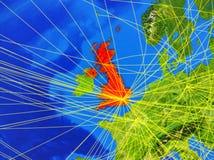 Ηνωμένο Βασίλειο γη με το δίκτυο στοκ εικόνες