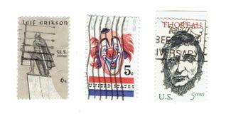 ΗΝΩΜΕΝΕΣ ΠΟΛΙΤΕΊΕΣ: Χρησιμοποιημένα γραμματόσημα του Ιλλινόις, Νεμπράσκα Ιντιάνα, Αρκάνσας και Μισισιπής Στοκ Εικόνα