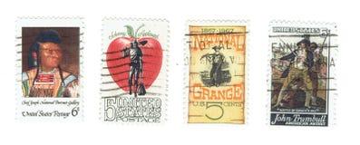 ΗΝΩΜΕΝΕΣ ΠΟΛΙΤΕΊΕΣ: Χρησιμοποιημένα γραμματόσημα των διάσημων γεγονότων και των ανθρώπων στην Αμερική Στοκ Εικόνες