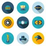 ΗΠΑ, εικονίδια με το διανυσματικό σχήμα Στοκ εικόνα με δικαίωμα ελεύθερης χρήσης