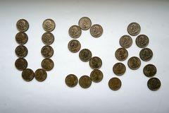 ΗΠΑ - επιγραφή από τα νομίσματα Στοκ εικόνα με δικαίωμα ελεύθερης χρήσης