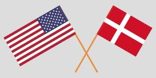 ΗΠΑ και Δανία Αμερικανικές και δανικές σημαίες Επίσημα χρώματα Σωστή αναλογία διάνυσμα απεικόνιση αποθεμάτων