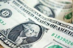 ΗΠΑ κινηματογράφηση σε πρώτο πλάνο λογαριασμών ενός δολαρίου τραπεζογραμμάτιο Δολ ΗΠΑ πορτρέτο Ουάσιγκτον George τα χρήματα δηλών Στοκ Εικόνα