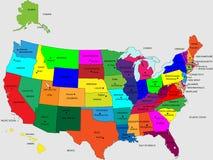 ΗΠΑ 50 κρατικά ζωηρά χρώματα διανυσματική απεικόνιση