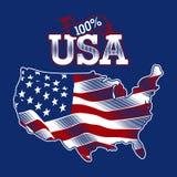 100% ΗΠΑ με τον ΑΜΕΡΙΚΑΝΙΚΟΎΣ χάρτη και τη σημαία σκιαγραφιών μέσα ελεύθερη απεικόνιση δικαιώματος