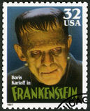 ΗΠΑ - 1997: παρουσιάζει πορτρέτο του William Henry Pratt Boris Karloff το 1887-1969 ως τέρας Frankenstein, κλασικά τέρατα κινηματ Στοκ Εικόνες