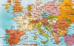 ηπειρωτικός χάρτης της Ευρώπης πολιτικός στοκ εικόνα με δικαίωμα ελεύθερης χρήσης