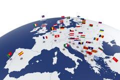 ηπειρωτικός χάρτης της Ευρώπης πολιτικός Στοκ Εικόνα