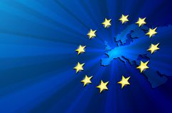 ηπειρωτικός χάρτης της Ευρώπης πολιτικός Στοκ Εικόνες