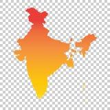 ηπειρωτικός χάρτης της Ινδίας πολιτικός Ζωηρόχρωμη πορτοκαλιά διανυσματική απεικόνιση Στοκ Εικόνα