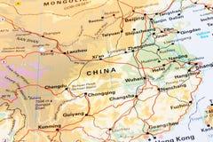 ηπειρωτικός χάρτης της Κίνας πολιτικός Στοκ Φωτογραφίες