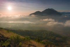 Ηφαίστειο Batur στην ανατολή, Μπαλί, Ινδονησία Στοκ Εικόνες