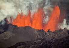 Ηφαιστειακή έκρηξη σε Holuhraun Ισλανδία (2014) Στοκ Εικόνα